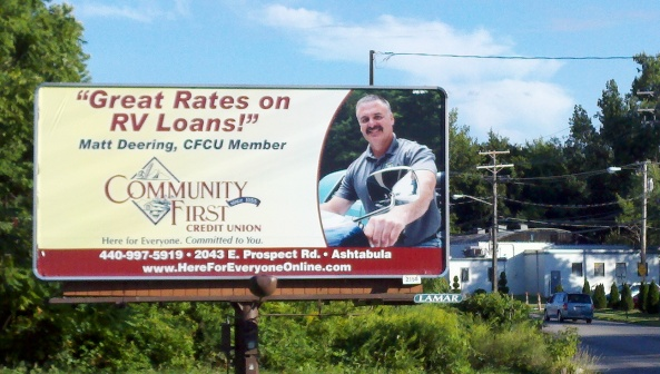 Community First Credit Union RV Loans billboard created by Media Magic and Lamar Advertising