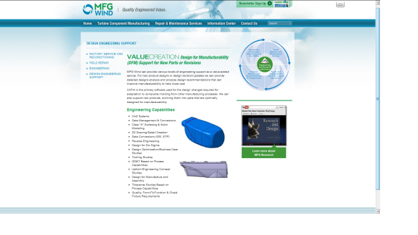 MFG Wind website  featuring Wind Energy video produced by Media Magic
