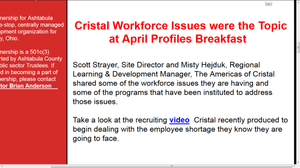 GP newsletter Profile Breakfast Cristal video link close up screencap